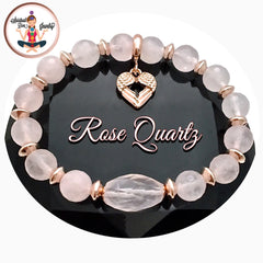 Spiritual Diva Jewelry Rose Quartz Healing Crystal Rose Gold Angel Reiki Gemstone Bracelet