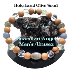 Guardian Angel healing crystal mens olive wood reiki bracelet