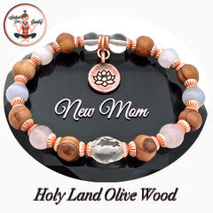 New Mother Baby Healing Crystal Reiki Olive Wood Copper Lotus Bracelet Spiritual Diva Jewelry