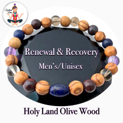 Cancer Immune System Recovery Healing Crystal Mens unisex Olive Wood  Bracelet - Spiritual Diva Jewelry