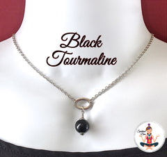 Black Tourmaline Energy Healing Crystal Reiki Gemstone Choker Necklace - Spiritual Diva