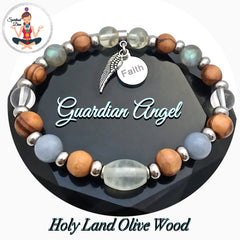Guardian Angel Energy Healing Crystal Reiki Gemstone Olive Wood Bracelet - Spiritual Diva Jewelry