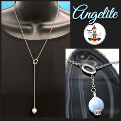 Angelite healing crystal reiki gemstone lariat necklace - Spiritual Diva Jewelry
