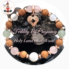 FERTILITY PREGNANCY Energy Healing Crystal Reiki Angel IVF Olive Wood Rose Gold Bracelet - Spiritual Diva Jewelry