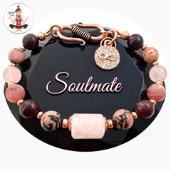 Soulmate Love Healing Crystal Rose Gold Copper Reiki Gemstone Bracelet - Spiritual Diva Jewelry