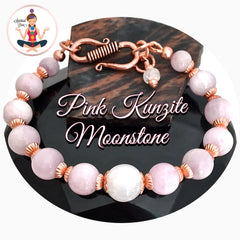 Pink Kunzite Moonstone Energy Healing Crystal Reiki copper Gemstone Stretch Bracelet - Spiritual Diva Jewelry