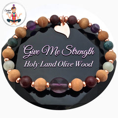Strength Grief Depression Healing Crystal Reiki Gemstone copper olive wood Bracelet - Spiritual Diva jewelry