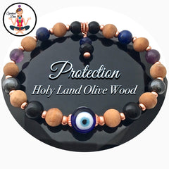PROTECTION Energy Healing Crystal Copper Reiki Evil Eye Olive Wood Bracelet - Spiritual Diva Jewelry
