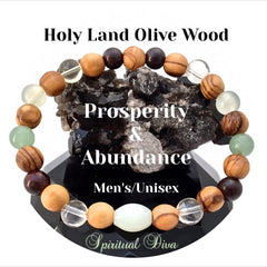 Prosperity Abundance Mens Olive wood Gemstone Bracelet