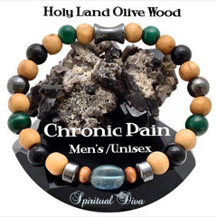 Chronic Pain relief Mens Olive Wood bracelet spiritual Diva Jewelry