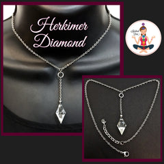 Herkimer Diamond Healing Crystal reiki Choker Y Gemstone Necklace - Spiritual Diva Jewelry