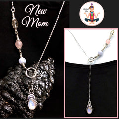 New Mother Baby healing crystal reiki lariat Necklace - Spiritual Diva Jewelry