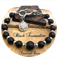 Black Tourmaline Healing Crystal Reiki Gemstone Adjustable Bracelet - Spiritual Diva