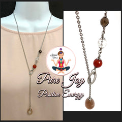 POSITIVE ENERGY Pure Joy Healing Crystal Reiki Gemstone Lariat Necklace - Spiritual Diva Jewelry