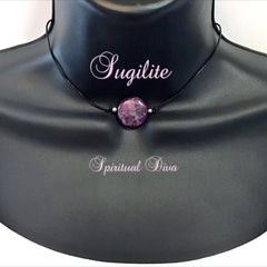 Spiritual Diva Jewelry Sugilite Energy Healing Crystal Reiki Pendant Leather Choker Necklace