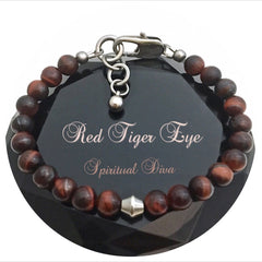 Spiritual Diva Jewelry Red Tiger Eye Energy Healing Crystal Reiki Gemstone Clasp Bracelet