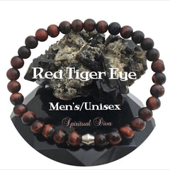 Spiritual Diva Jewelry Red Tiger Eye Healing Crystal Reiki Gemstone Mens Unisex Bracelet