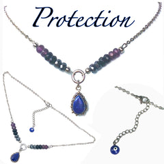 PROTECTION Evil Eye Reiki Healing Crystal Choker Gemstone Necklace - Spiritual Diva Jewelry