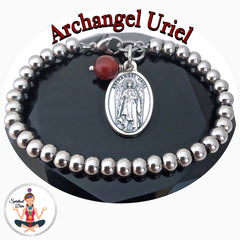 Archangel Uriel Amber Healing Crystal Stainless Steel Charm Bracelet - Spiritual Diva Jewelry