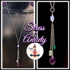Stress Anxiety Healing Crystal Reiki gemstone Tassel Necklace - Spiritual Diva Jewelry