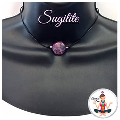 Sugilite Energy Healing Crystal Reiki Pendant Gemstone leather Choker Necklace - Spiritual Diva Jewelry
