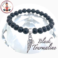 Black Tourmaline Energy Healing Crystal Reiki Gemstone Angel Bracelet - Spiritual Diva Jewelry