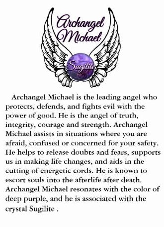 Archangel St Michael Sugilite Healing Crystal Stainless Steel Charm Bracelet description - Spiritual Diva Jewelry