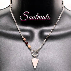 Soulmate Crystal Reiki Gemstone Energy Toggle Love Necklace
