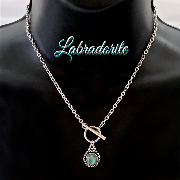 Labradorite Energy Healing Crystal Reiki Toggle Gemstone Necklace - Spiritual Diva Jewelry