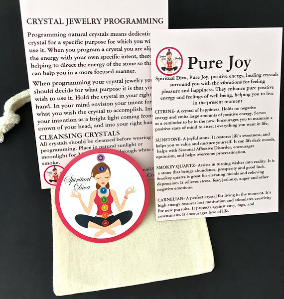 Pure Joy Positive Energy Healing Crystal Reiki Gemstone Description Cards Gift Bag - Spiritual Diva Jewelry