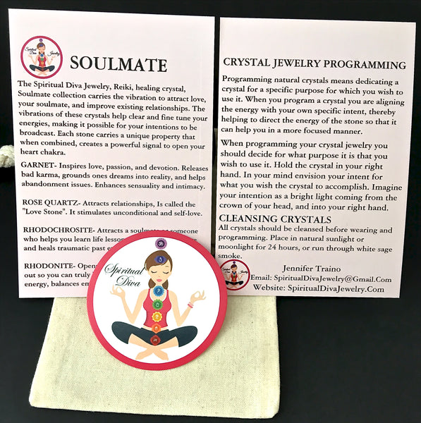 Soulmate Attract Love Energy Healing Crystal Reiki adjustable Gemstone description cards gift bag - Spiritual Diva Jewelry