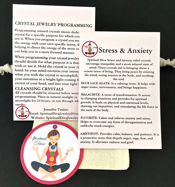 Stress Anxiety Healing crystal reiki gemstone description cards gift bag - Spiritual Diva Jewelry