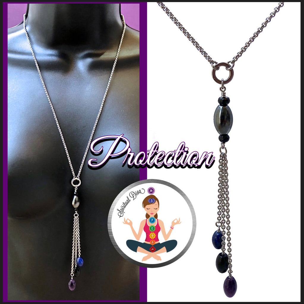 PROTECTION Reiki Energy Healing Crystal Gemstone Tassel Necklace - Spiritual Diva Jewelry