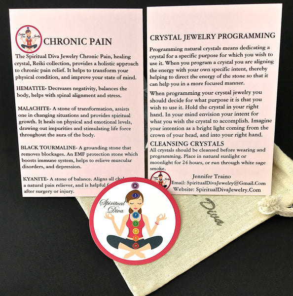 CHRONIC PAIN Relief, Healing Crystal, Reiki gemstone description cards gift bag - Spiritual Diva Jewelry