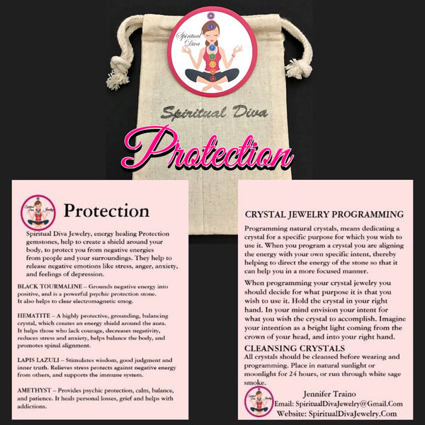 PROTECTION Energy Healing Crystal Reiki gemstone description Cards gift bag - Spiritual Diva Jewelry