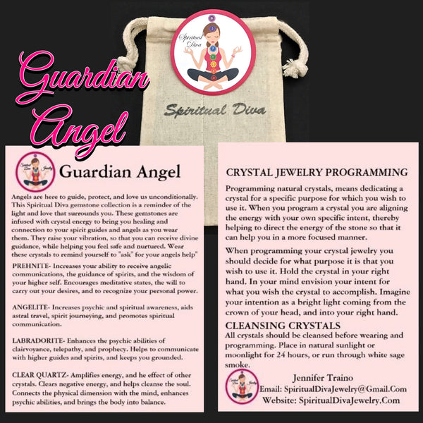 Guardian Angel Healing Crystal Reiki Gemstone Description Cards gift bag -Spiritual Diva Jewelry