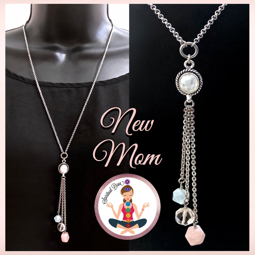 New Mother Healing Crystal Reiki Gemstone Moonstone Tassel Necklace - Spiritual Diva Jewelry