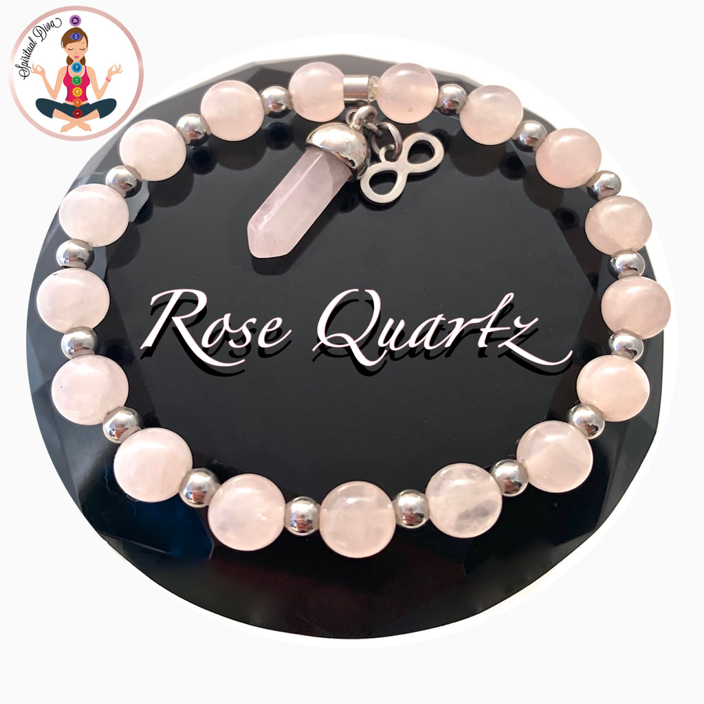 Rose Quartz Love Fertility Reiki Energy Healing Crystal Charm Bracelet - Spiritual Diva Jewelry