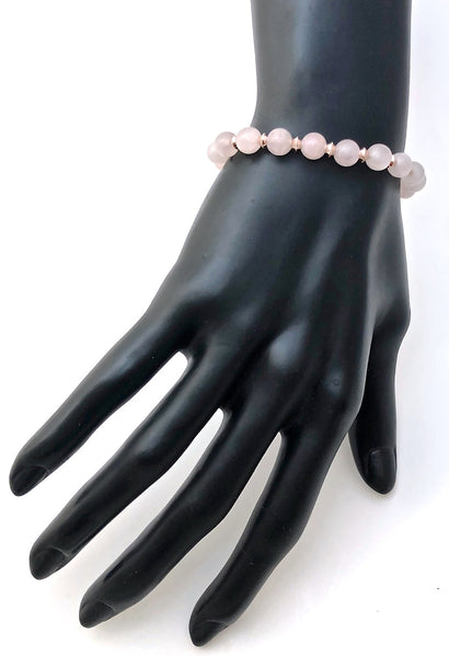 Rose Quartz Healing Crystal Rose Gold Angel Reiki Gemstone Bracelet - Spiritual Diva Jewelry