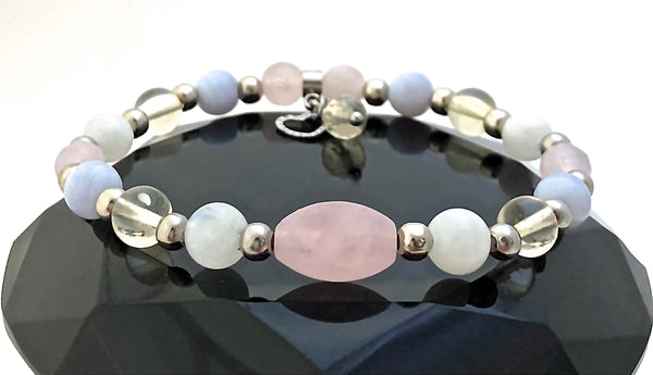 New Mother Baby Energy Healing Crystal Reiki Gemstone Charm Bracelet - Spiritual Diva Jewelry