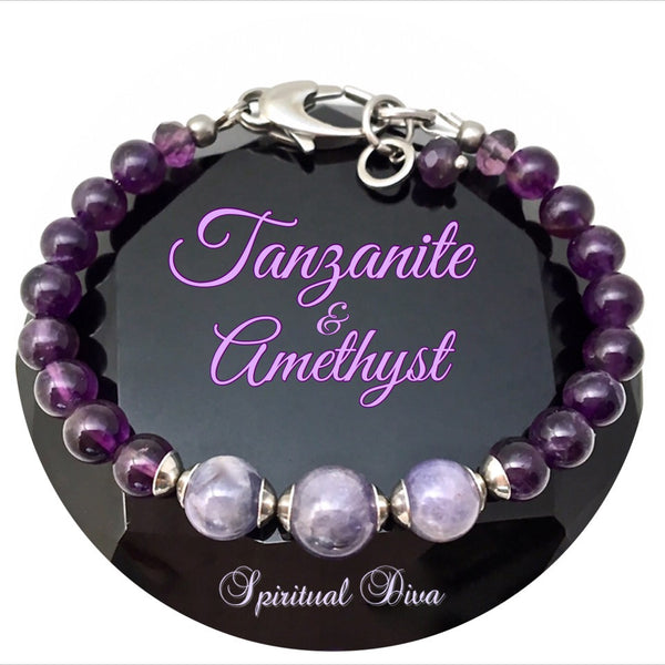 Amethyst Tanzanite Energy Healing Crystal Gemstone Adjustable Reiki Bracelet - Spiritual Diva Jewelry