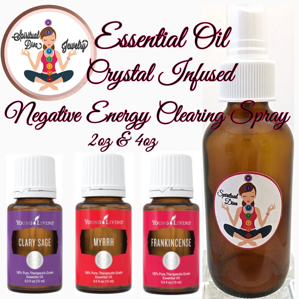 Spiritual Diva Crystal Essential Oil Infused Clear Quartz Shungite Negative Energy Clearing Spray