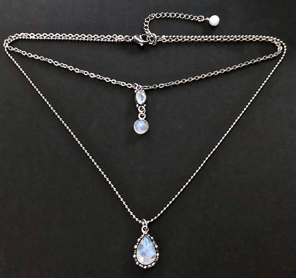 Moonstone Healing Crystal Reiki Choker Layered Gemstone Necklace - Spiritual Diva Jewelry