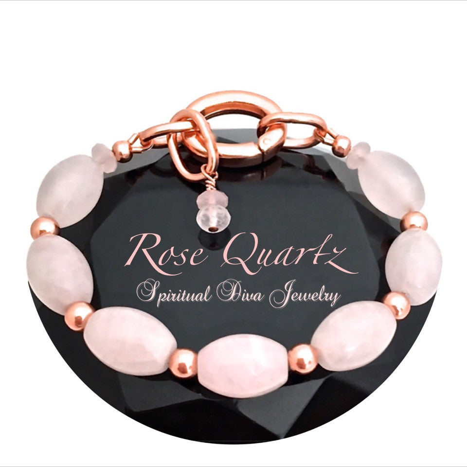 Rose Quartz Love Energy Healing Crystal Copper Reiki Clasp Bracelet - Spiritual Diva Jewelry