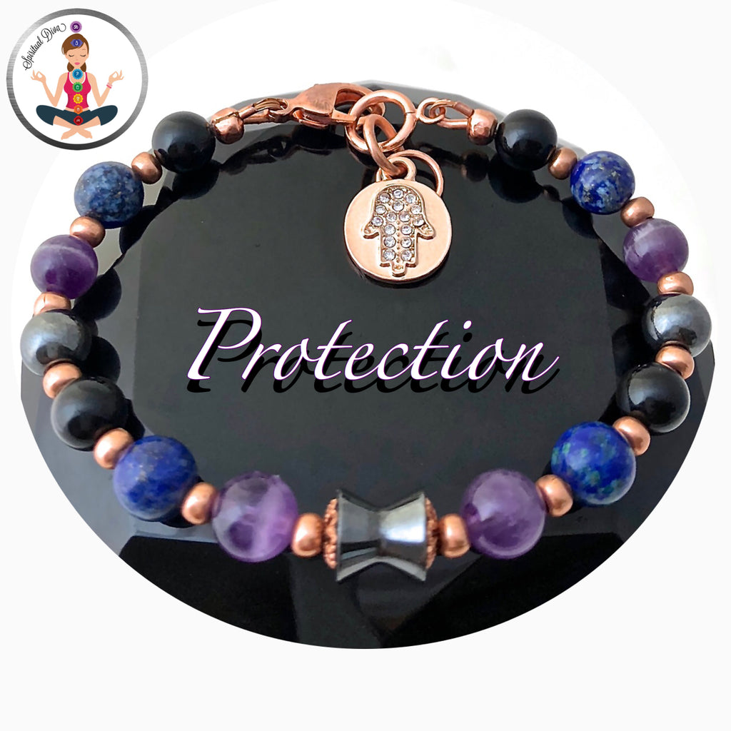 PROTECTION Energy Healing Crystal Copper Reiki Hamsa Hand Bracelet - Spiritual Diva Jewelry