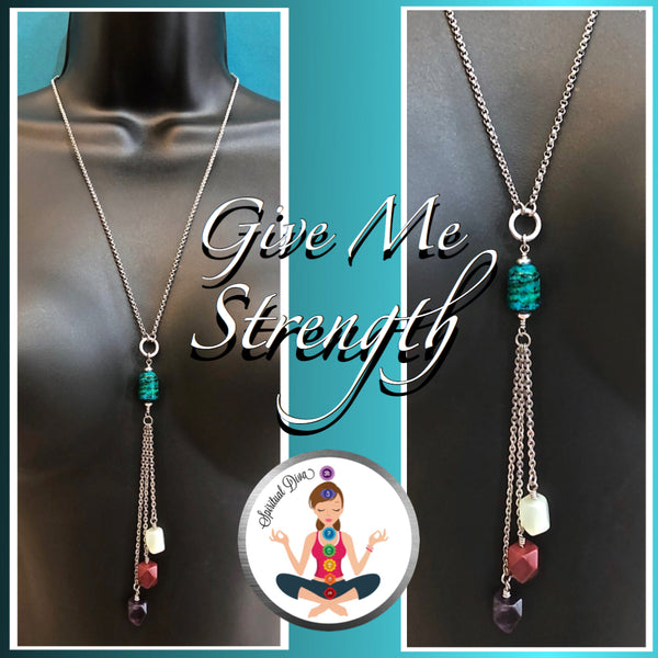 Strength Grief Depression Healing Crystal Reiki Gemstone tassel Necklace - spiritual diva jewelry