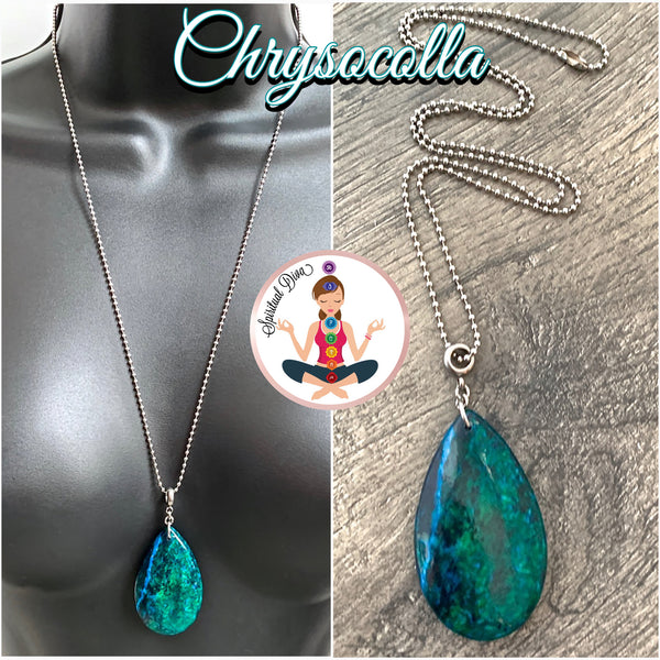 Chrysocolla Energy Healing Crystal Reiki Gemstone Pendant Necklace - Spiritual Diva Jewelry