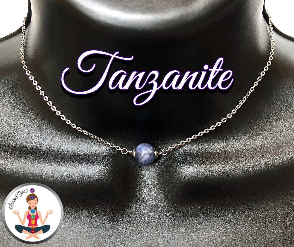 Tanzanite Healing Crystal Gemstone Adjustable Reiki Choker Necklace - Spiritual Diva Jewelry