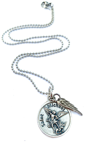 Archangel St Michael Stainless Steel Spiritual Diva Charm Necklace