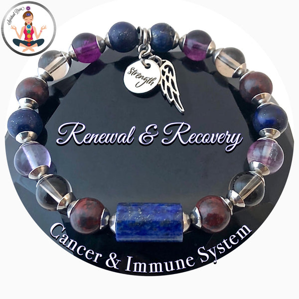 Cancer Immune System Recovery Healing Crystal Reiki Strength angel bracelet  - Spiritual Diva Jewelry